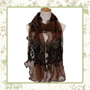 🌸 NEW SHEER BROWN BLACK PEACOCK EMBROIDERED SCARF
